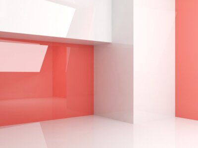 Room with shiny geometric installation, 3d
