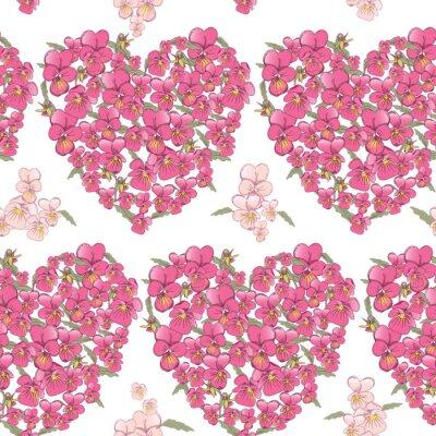 Sticker Rose cœur de pensées sur un fond blanc. Seamless, fond