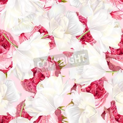 Sticker Rose tulip seamless pattern