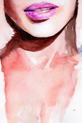 Sticker rouge à lèvres violet. aquarelle lèvres