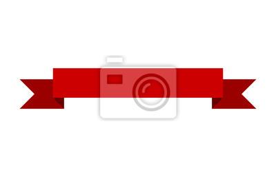 Sticker Rouge, bannière, ruban, plat, vecteur, conception ...