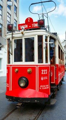 Sticker Rouge, retro, tram, Taksim, Istiklal, rue