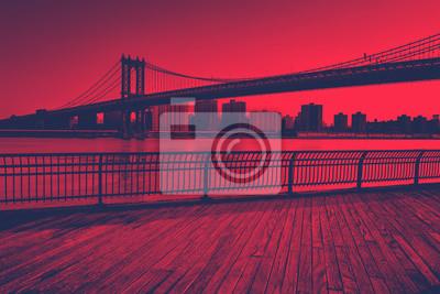 Rouge, toned, Manhattan, pont, Étendre, Est, rivière