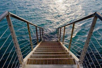 Sticker Rouillé, escalier, profond, mer