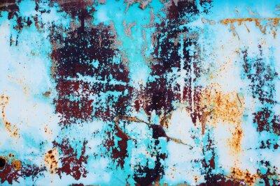 Sticker Rouillé, métal, craquelé, bleu, peinture. Coloré, fond, rouillé, fer, surface, bleu, peinture, décapage, craquage, texture