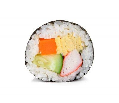 Sticker Rouleau de sushi isolé sur blanc.