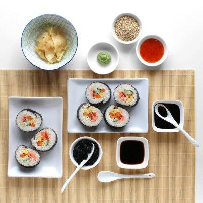Sticker Rouleaux de sushi, sauce soja, gingembre et wasabi