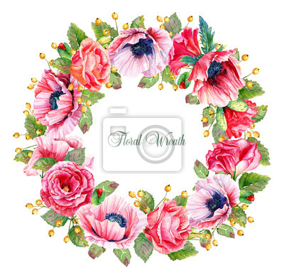 Round frame of watercolor roses, poppies and berries.