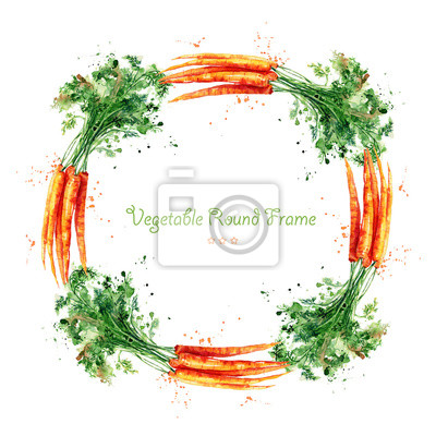 Round frame with carrot. Watercolor illustration. Hand drawn. Delicious vegetables. Wreath.