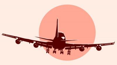 Sticker Round logo illustration de l'avion en vol.