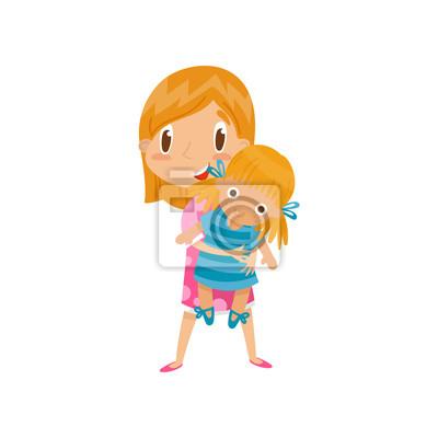 Sticker Rousse Petite Fille Jouant Avec Sa Poupée Vecteur De Personnage