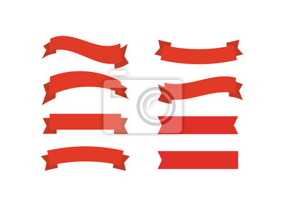 Sticker Rubans de vecteur rouge. Illustration vectorielle de ruban bannière promotion.