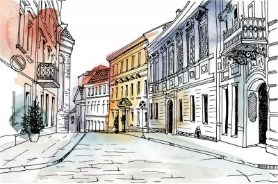 Sticker Rue de la vieille ville dessiné à la main style de croquis. Paysage romantique urbain. Vilnius.Lithuania. Illustration noir et blanche sur fond d'aquarelle coloré.