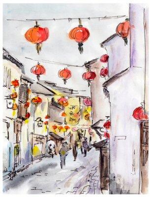Sticker Rue de la vieille ville en Chine, lanternes rouges traditionnels chinois
