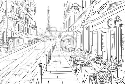 Sticker Rue, paris - esquisse, Illustration, concept