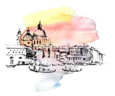 Sticker Rues à Venise avec télécabine, Italie. Croquis dessiné main sur fond aquarelle coloré.