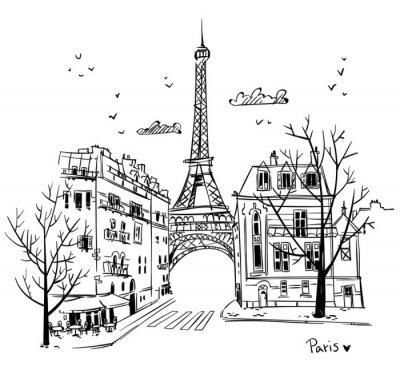Sticker Rues de Paris esquisse, illustration vectorielle
