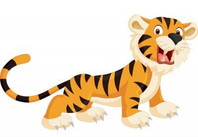 Sticker Rugissement de tigre de bande dessinée mignon