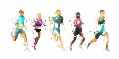 Sticker Run, group of running people, low poly vector illustration. Geometric runners