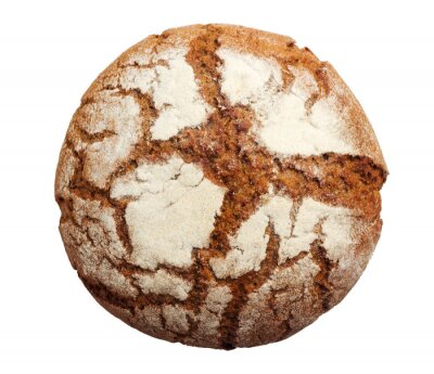 Sticker Rustic round brown bread isolated on white