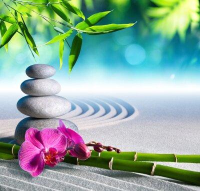 Sticker sable, orchidées et de massage pierres dans le jardin zen
