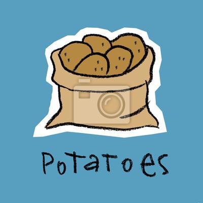 Sac, pommes terre, bleu, fond