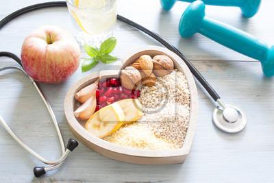 Sticker Sain, nourriture, coeur, eau, régime
