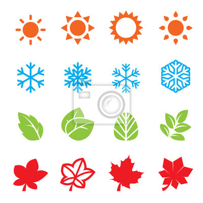 Sticker saison, icône, ensemble