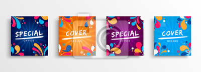 Sticker Sale and design background set with colorful art
