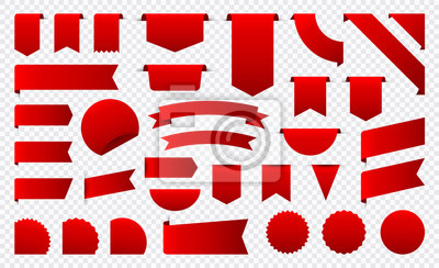 Sticker Sale and New Label collection set. Sale tags 30, 50, 70. Discount red ribbons, banners and icons. Shopping Tags. Sale icons. Red isolated on white background, vector illustration.