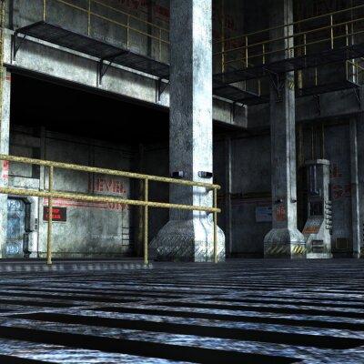 Sticker Salle industrielle du département technique avec portes en fer, colonnes et éléments métalliques