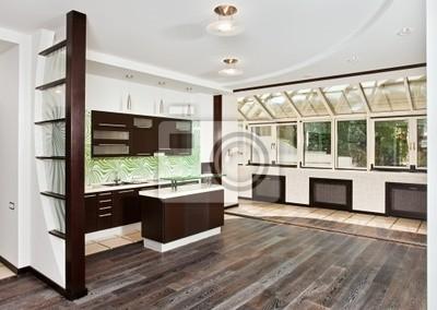 Sticker: Salon moderne et lintérieur de cuisine avec plancher en bois