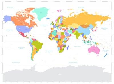 Sticker Salut détaillé l'illustration colorée vecteur politique Carte du monde