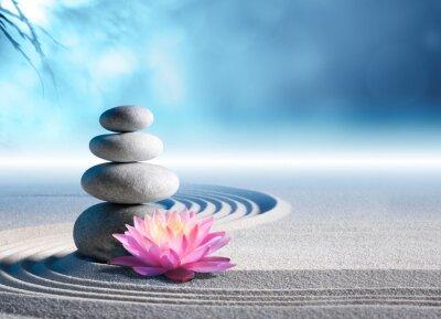 Sticker sand, lily and spa stones in zen garden