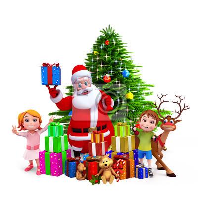 Santa avec boîte-cadeau, debout devant l'arbre