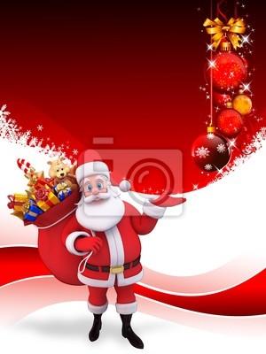 Santa avec le sac de cadeaux sur fond rouge avec des boules