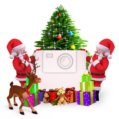 Santa avec le signe avant arbre de Noël