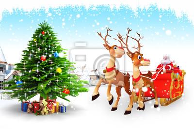 Santa avec le traîneau près d'un islande et bâtiments