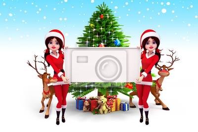 Santa fille avec un signe avant arbre de Noël avec des rennes