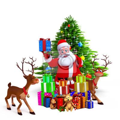 Santa montrant coffret cadeau