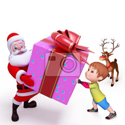 santa tenant une grosse boîte-cadeau violet