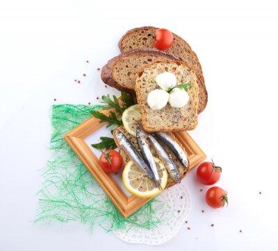 Sticker Sardines, tranche, pain