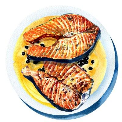 saumon grillé avec du poivre noir, du poisson frit sur une plaque blanche
