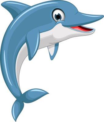 Sticker saut de bande dessinée de dauphin mignon