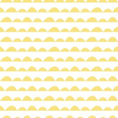 Sticker Scandinave, seamless, jaune, modèle, main, dessiné, style Lignes de collines stylisées. Motif ondulé simple pour tissu, textile et linge de bébé.