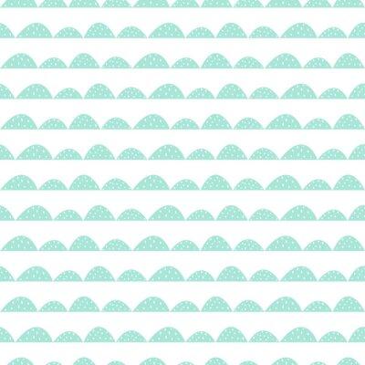 Sticker Scandinave, seamless, menthe, modèle, main, dessiné, style Lignes de collines stylisées. Motif ondulé simple pour tissu, textile et linge de bébé.