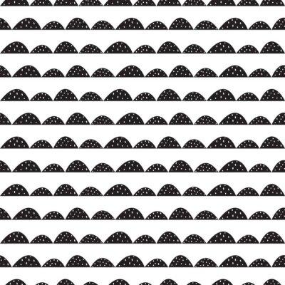 Sticker Scandinave, seamless, noir, blanc, modèle, main, dessiné, style Lignes de collines stylisées. Motif ondulé simple pour tissu, textile et linge de bébé.