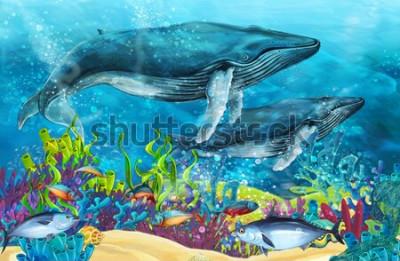 Sticker scène de dessin animé avec baleine près de récif de corail - illustration pour enfants