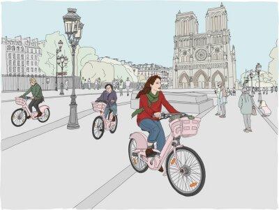 Sticker Scène de la ville de paris. Une femme aime faire du vélo à travers la ville, en face de la célèbre cathédrale Notre-Dame. Illustration dessinée à la main