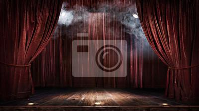 Sticker Scène de théâtre magique rideaux rouges Afficher Spotlight